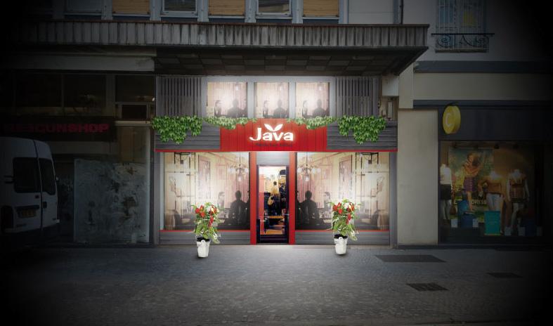 facade Magasin point vente design maquette projet bois contemporain mobilier aspect exterieur Coffee shop