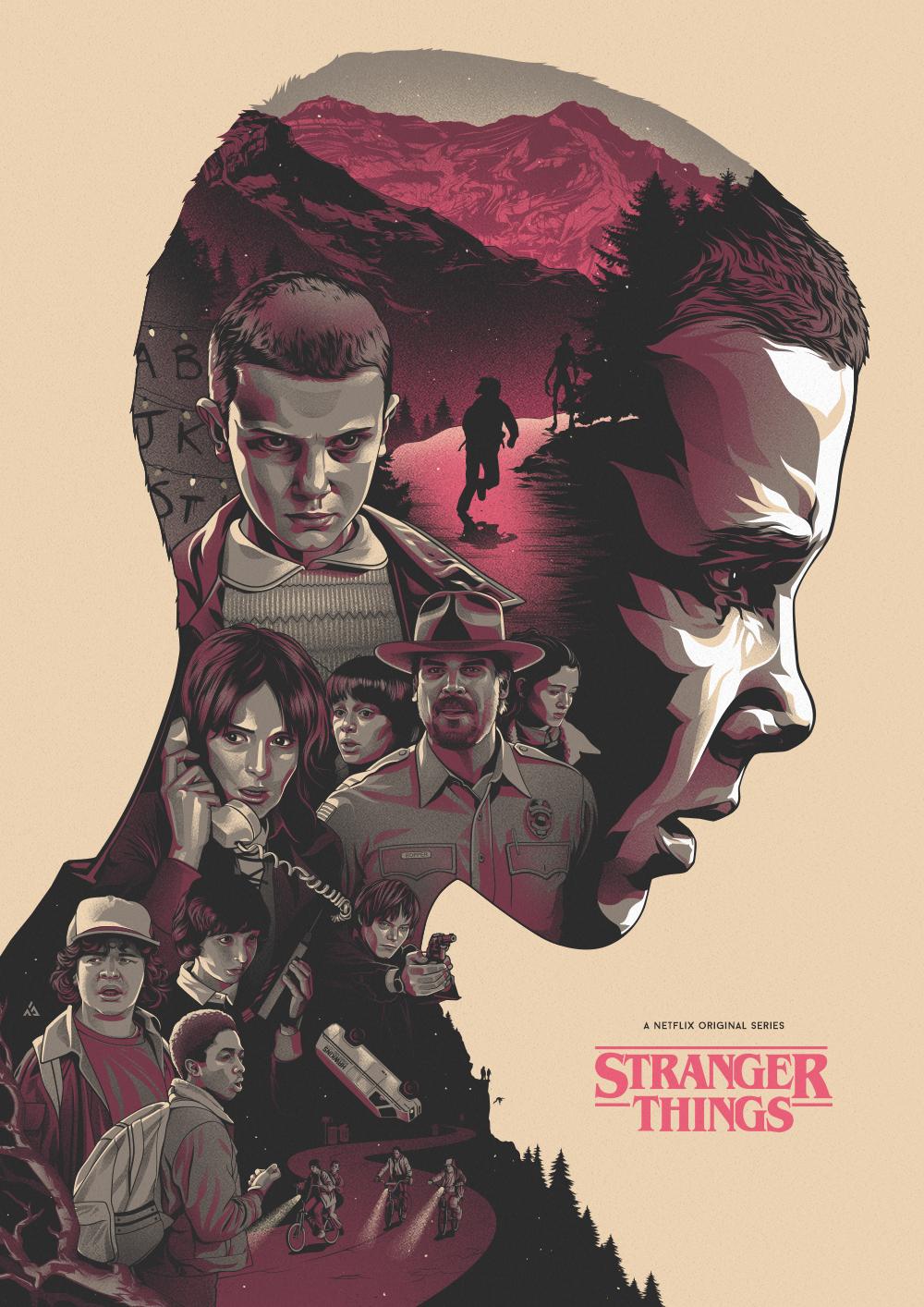 alternative movie poster double exposure Netflix fanart 80s
