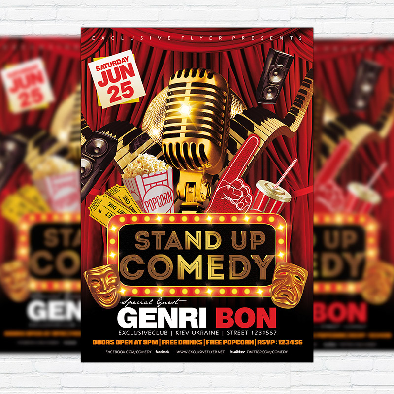 Stand Up Comedy Vol  Flyer Template  Facebook Cover  Heroturko