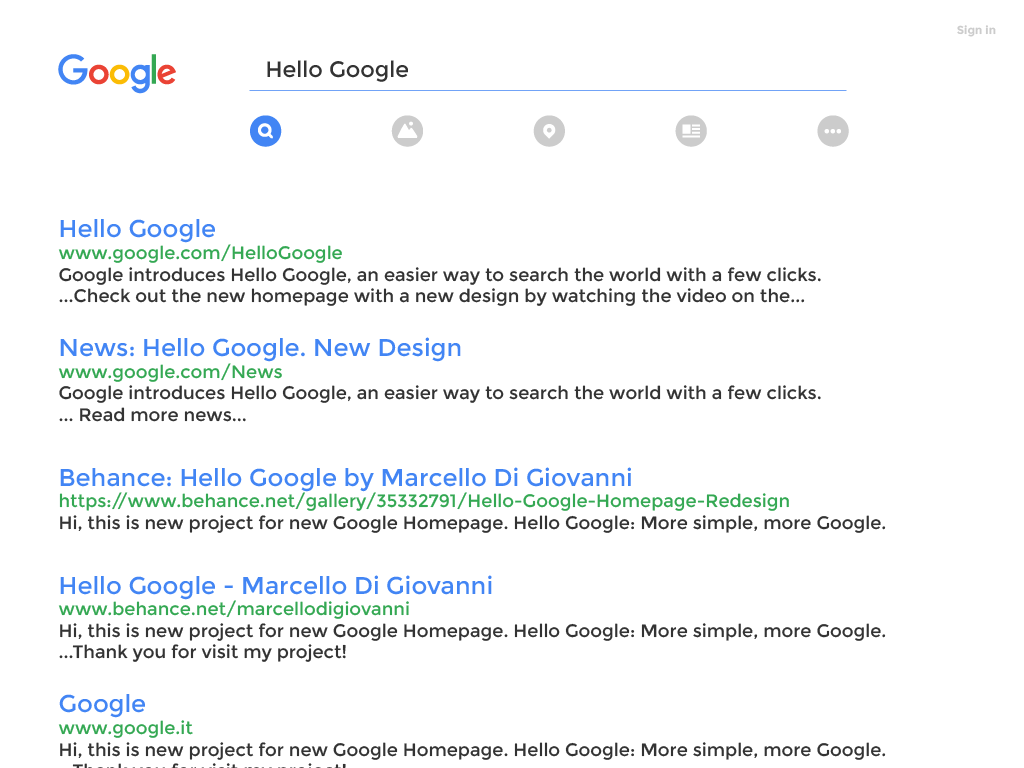 Redesign Google Homepage. Published: March 23, 2016. Thank You!
