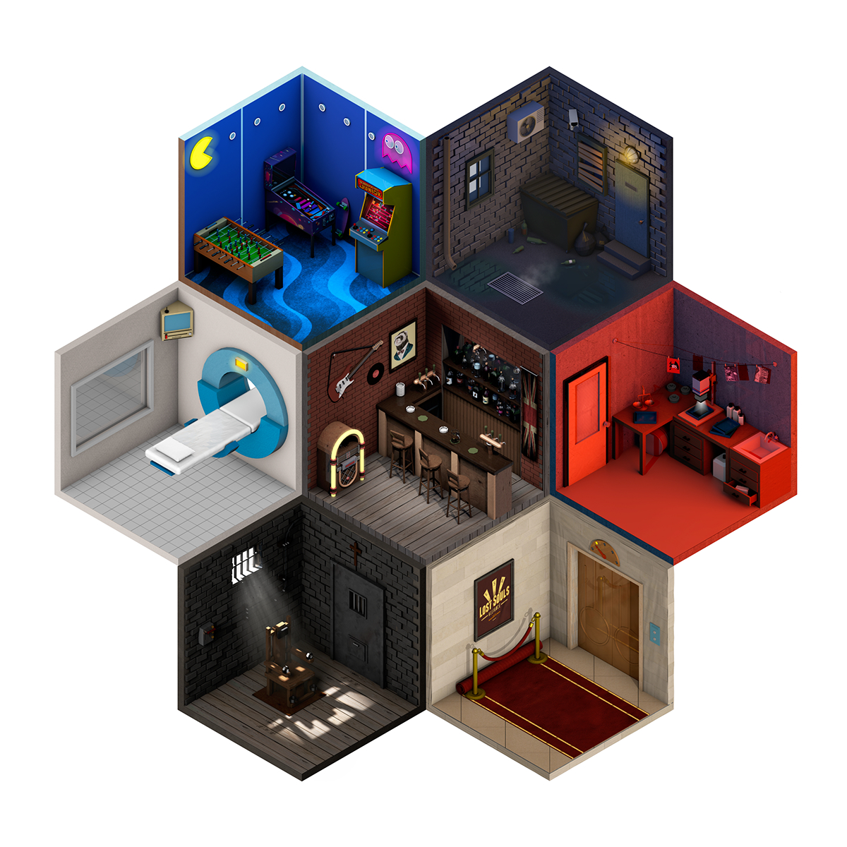 game design lowpoly Low Poly cinema4d c4d Isometric hex room concept Games Level Design gamedesign Tiny digitalart