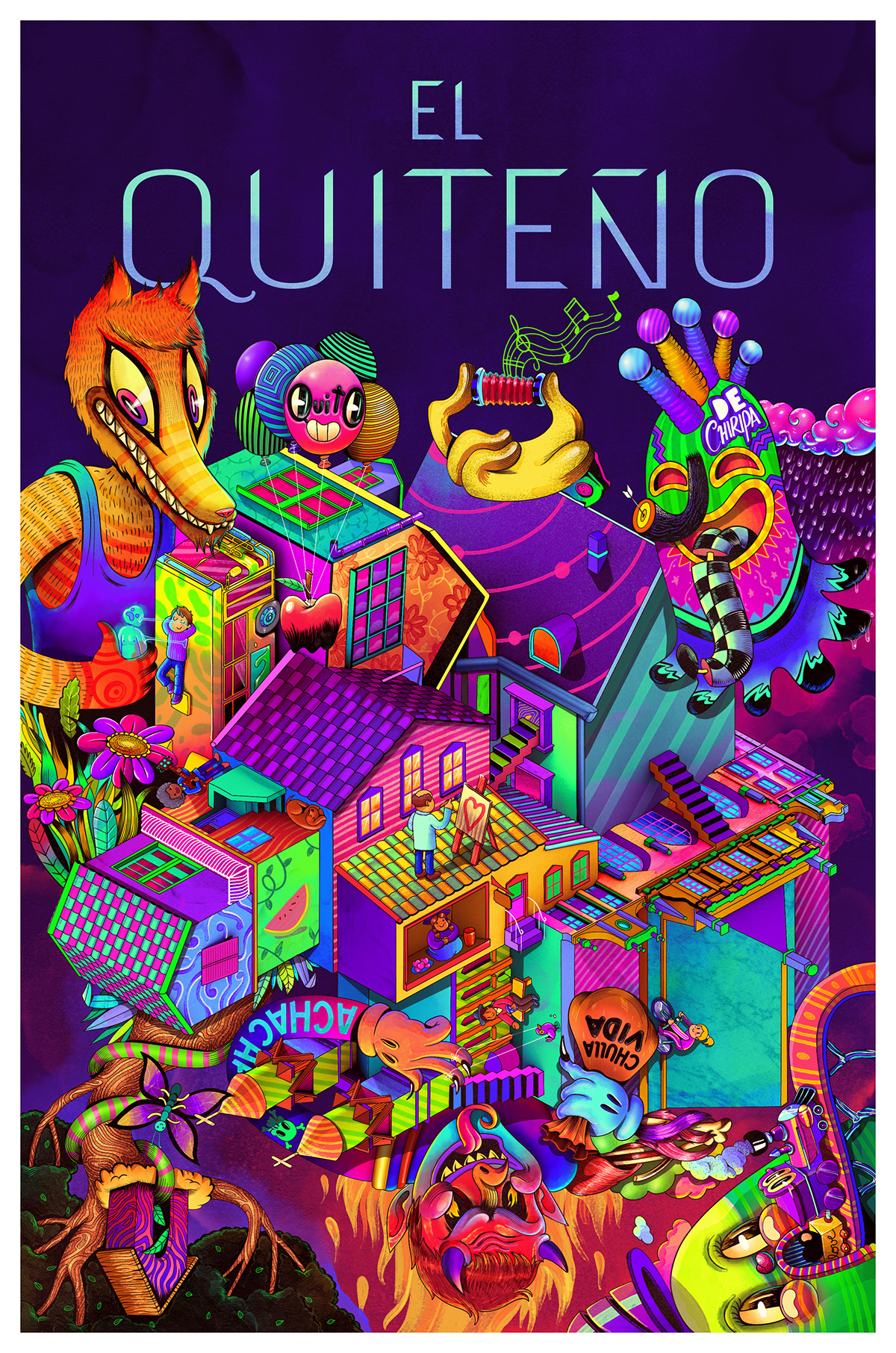 quito city colors house abstrac psychedelic demon people capital geometric