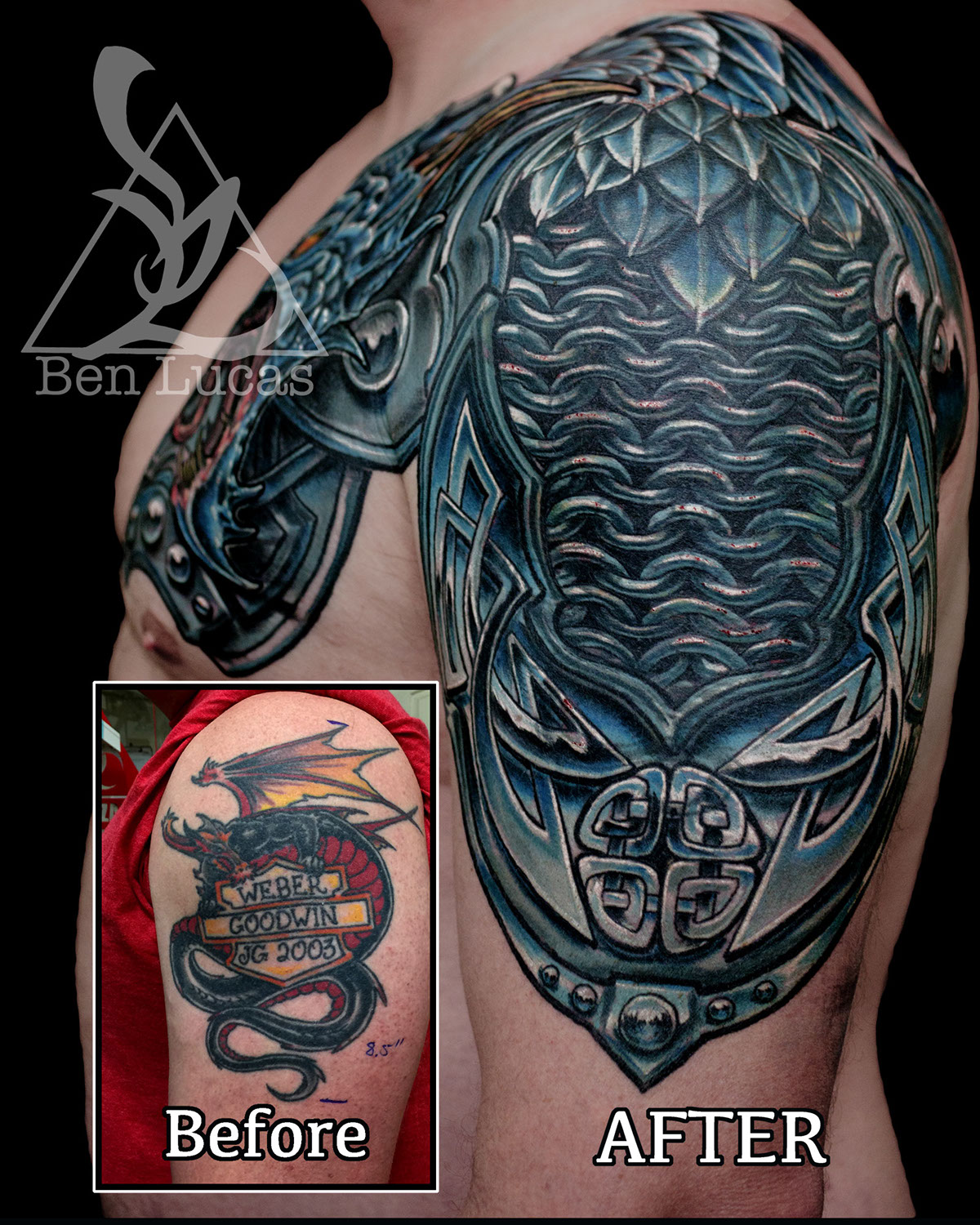 c9fdca4d1754e Dragon armor cover-up tattoo on Behance