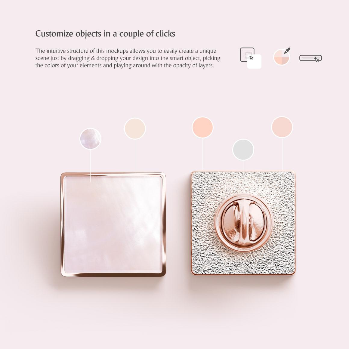 Square Enamel Pin Mockups Set on Behance