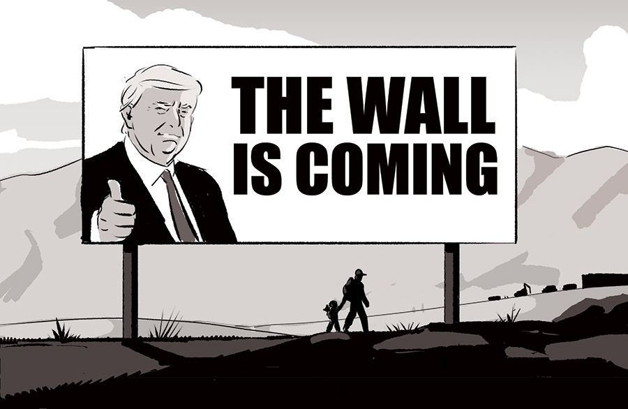 Trump wall mexico press edition usa longcours migrant Refugees