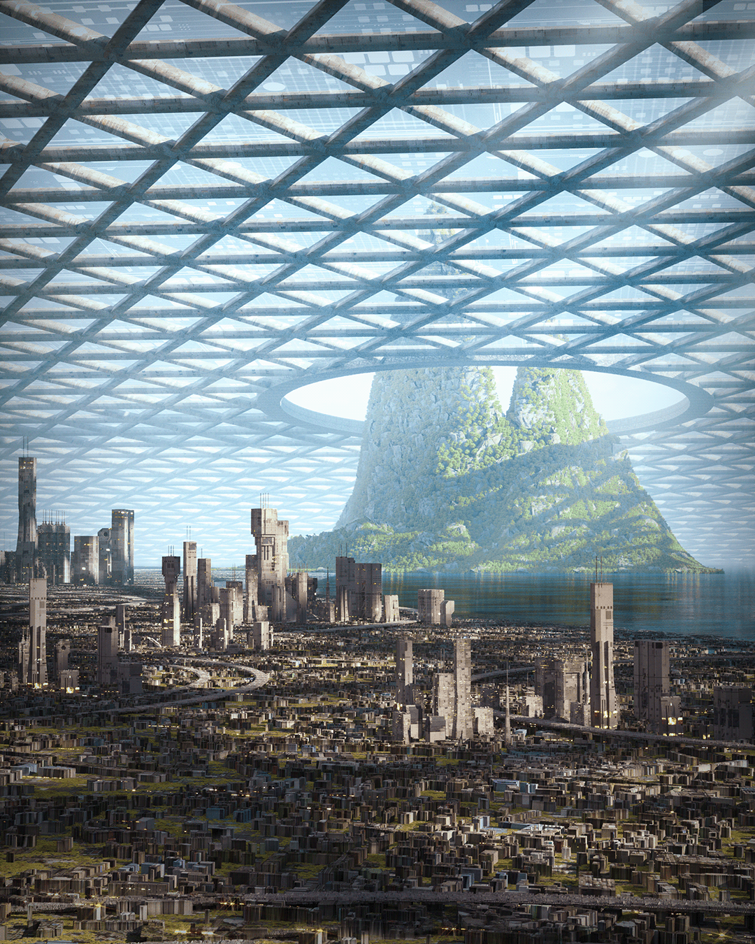 3D 3dart architecture artwork Cyberpunk design digital Render Scifi solarpunk