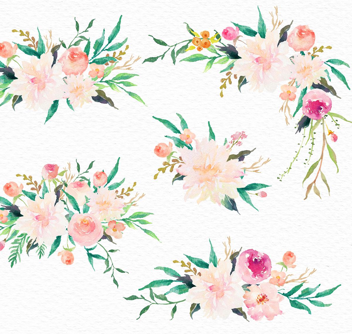 Watercolor flower Clip Art-Romantic Garden on Behance