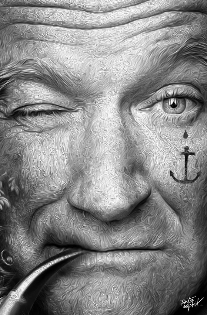 fantasmagorik nicolas obery Robin williams Popeye olive fantastique hommage actor star black White curious Cinema adobe photoshop