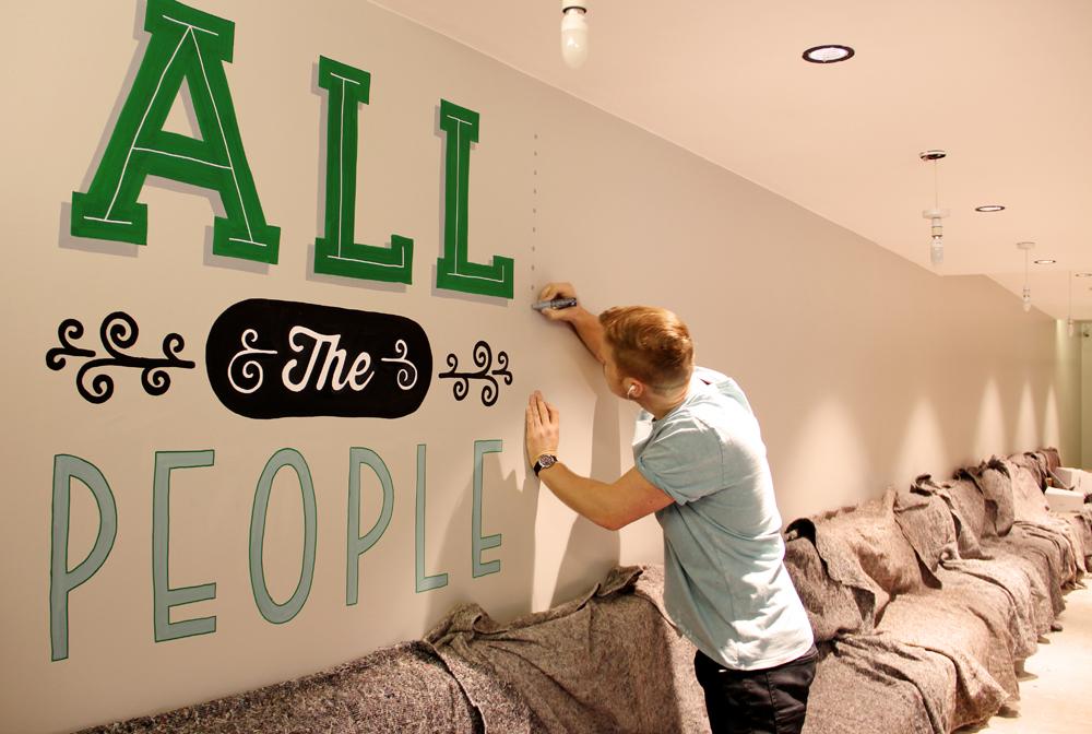 Adobe Portfolio Mural lettering wall hotel Holiday Inn britpop Lyrics words blur Supergrass oasis