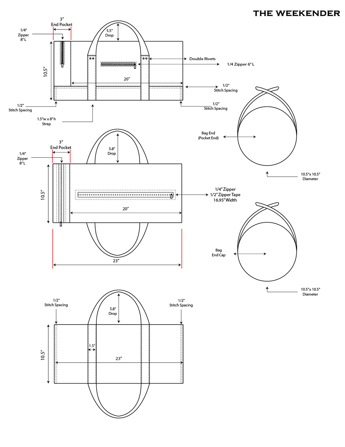 Suitcase Technical Product Design Sketch