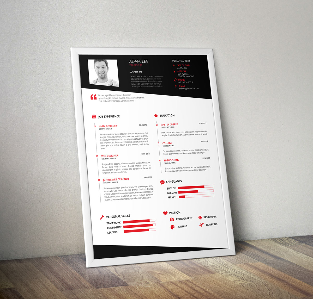 resume template on behance