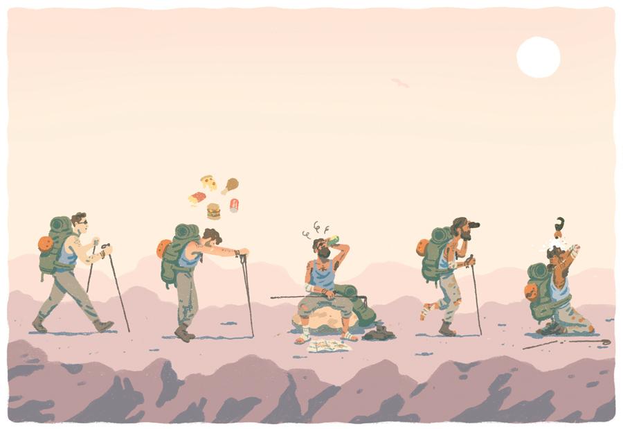 ILLUSTRATION  characterdesign Hike freespirit adventure wilderness editorial wornout desert Hiker