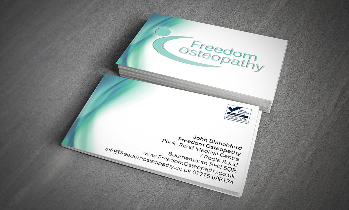 Freedom osteopathy business cards on Behance