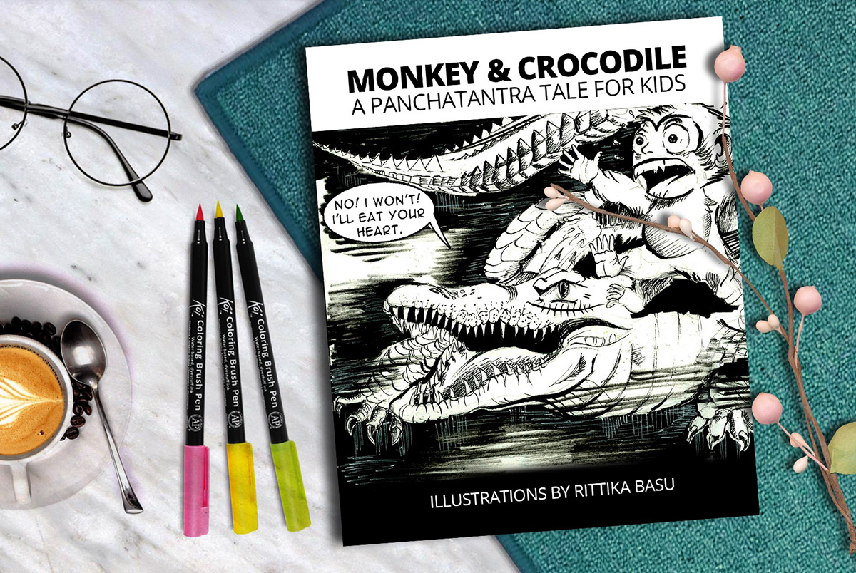 Panchatantra story of the monkey and the crocodile on Wacom Gallery