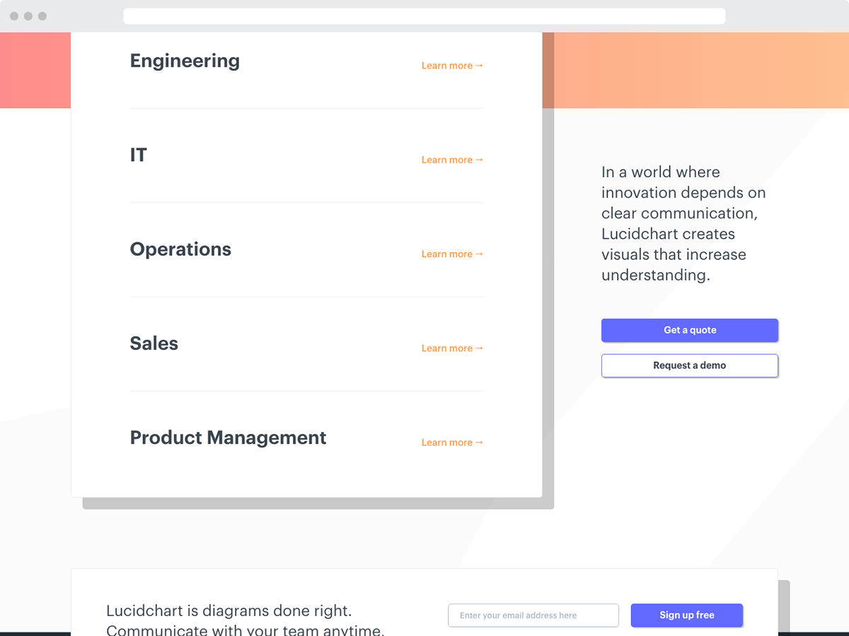 Lucidchart Solutions Page on Behance
