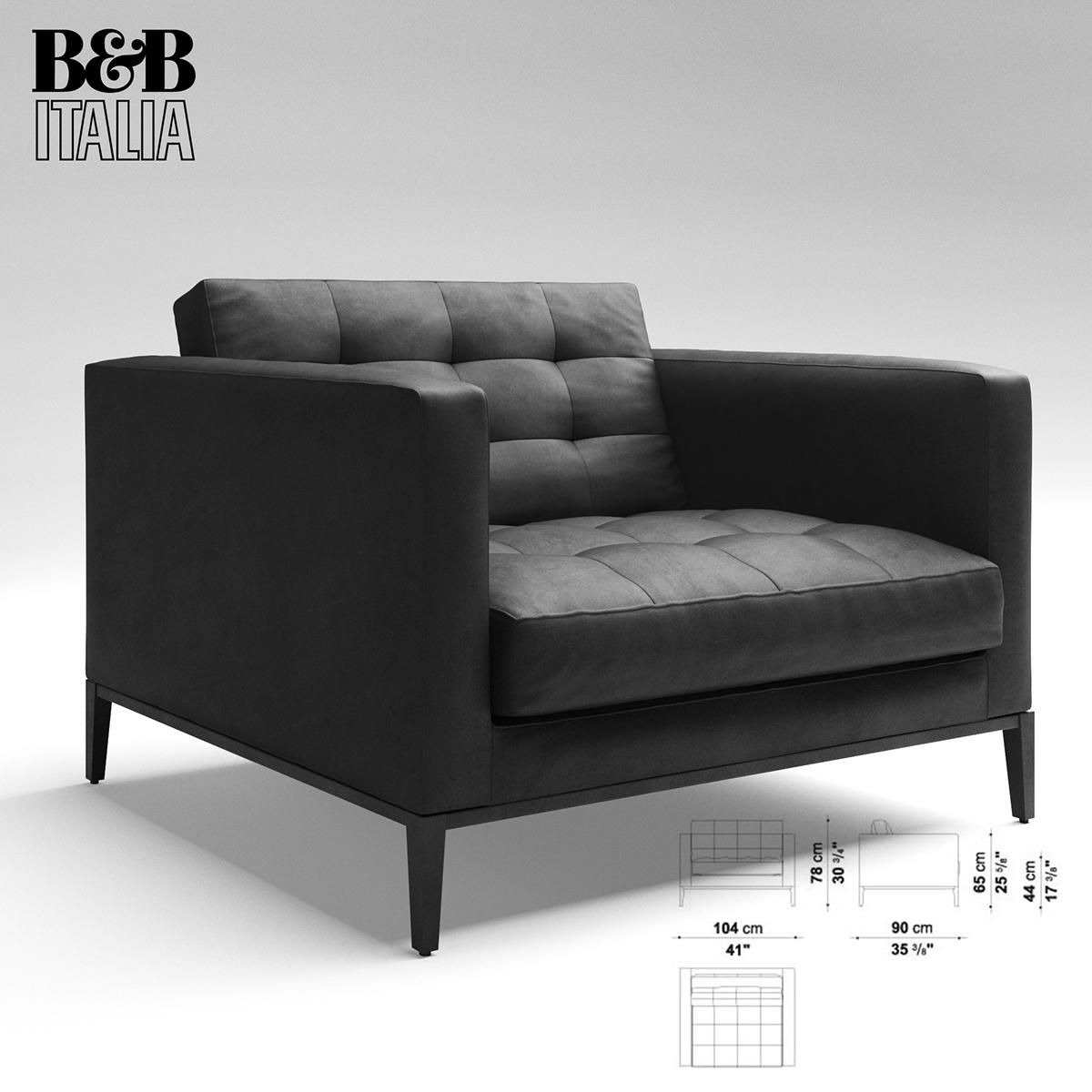 corona 3dmax 3D modelling chair B&B Italia photoshop