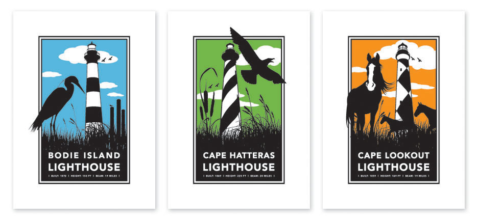 lighthouse north carolina cape hatteras Cape Lookout Bodie Island Silhouette