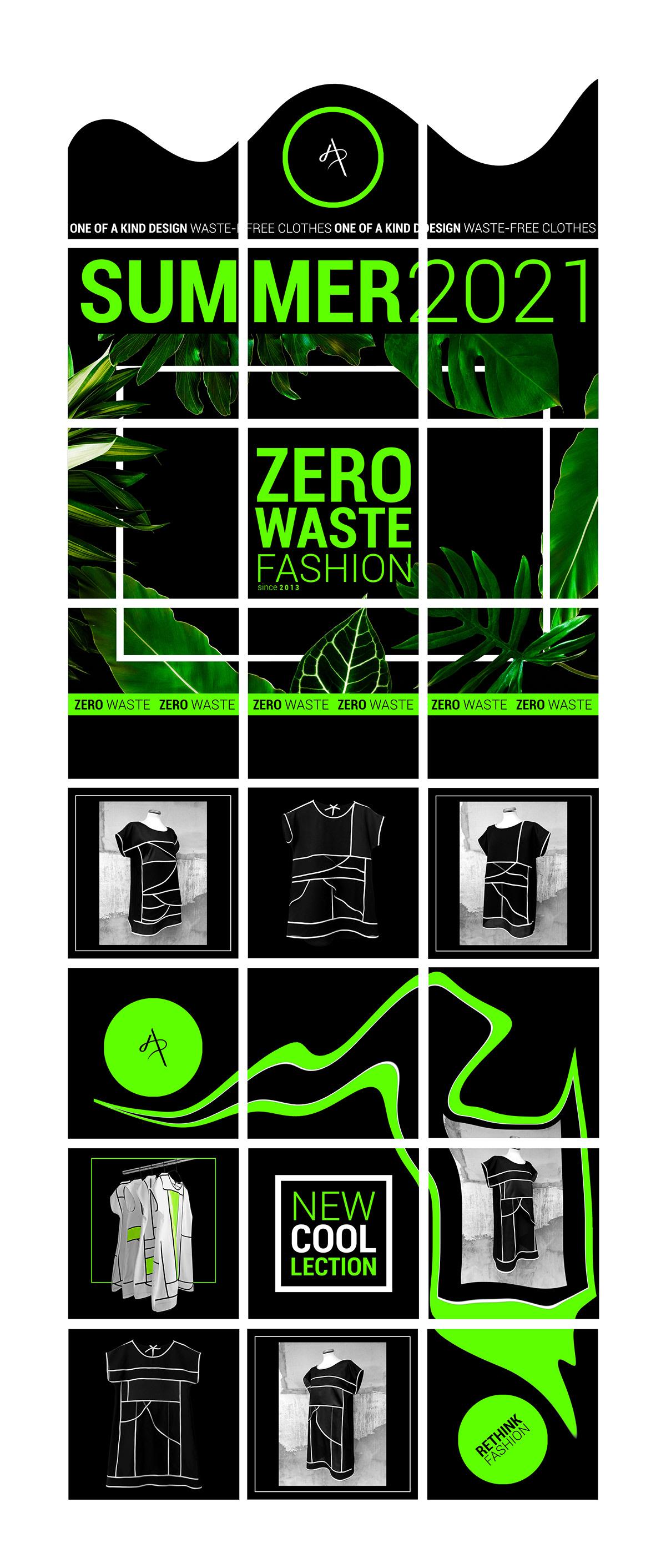 banner composition editorial Fashion  graphic design  instagram feed Instagram Post social media typography   zero waste