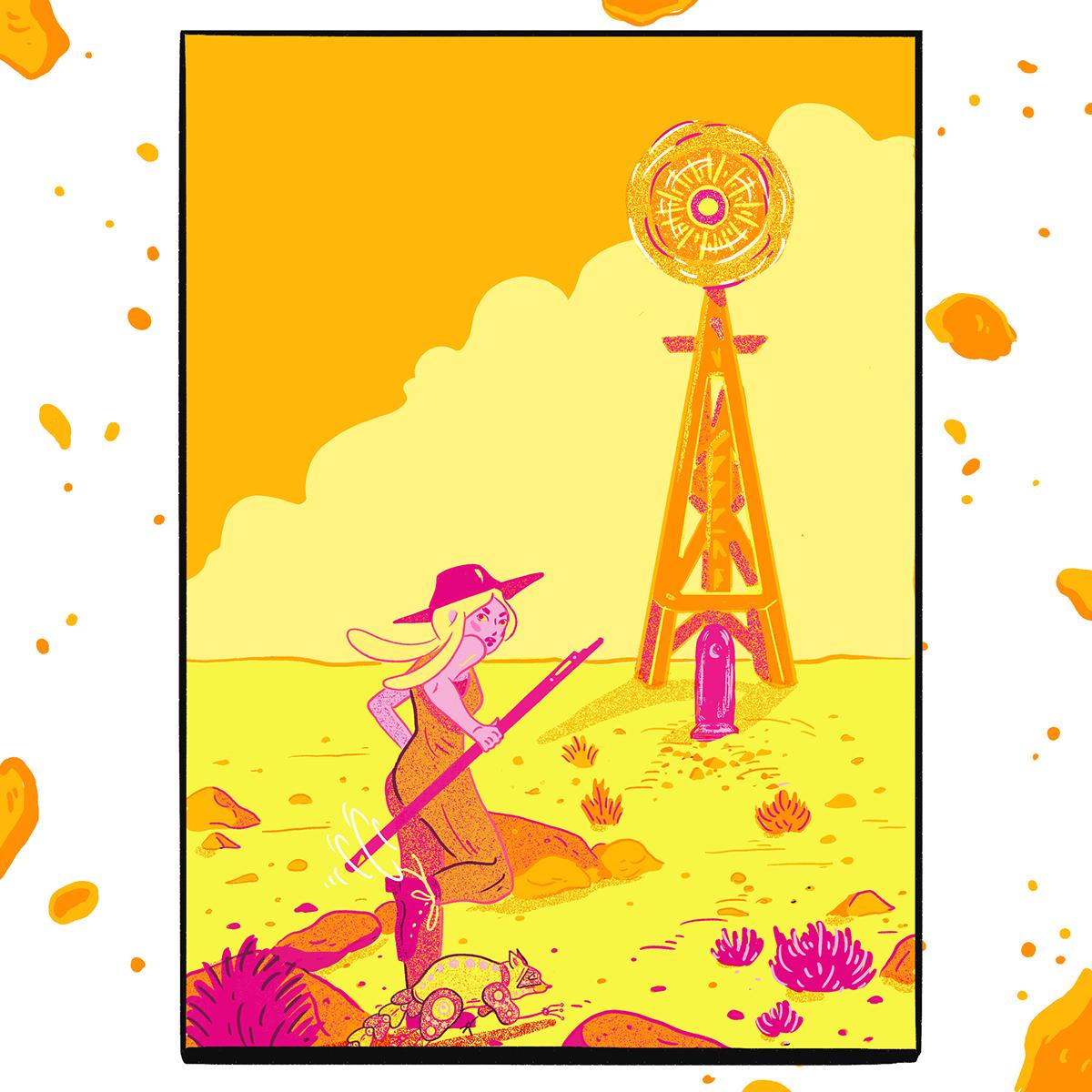comic fugitive Runaway western ILLUSTRATION  neon wild west pink Character design  Storyboards