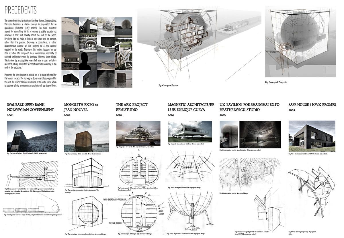 arkitecture architecture thesis genetic vault genetic strongbox Conceptual Architecture antarctica design graphic design  Render