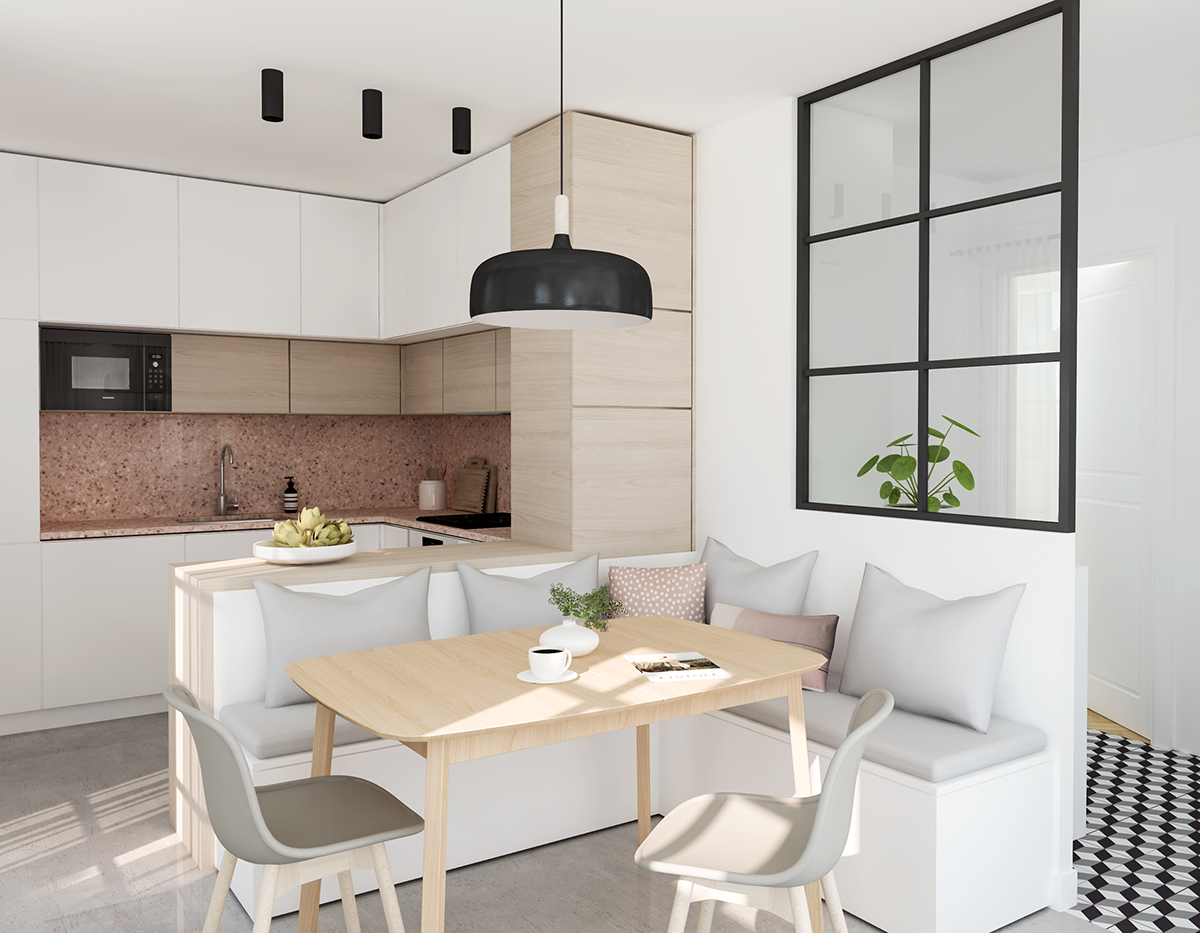 Small Kitchen With Pink Granite Countertop On Behance