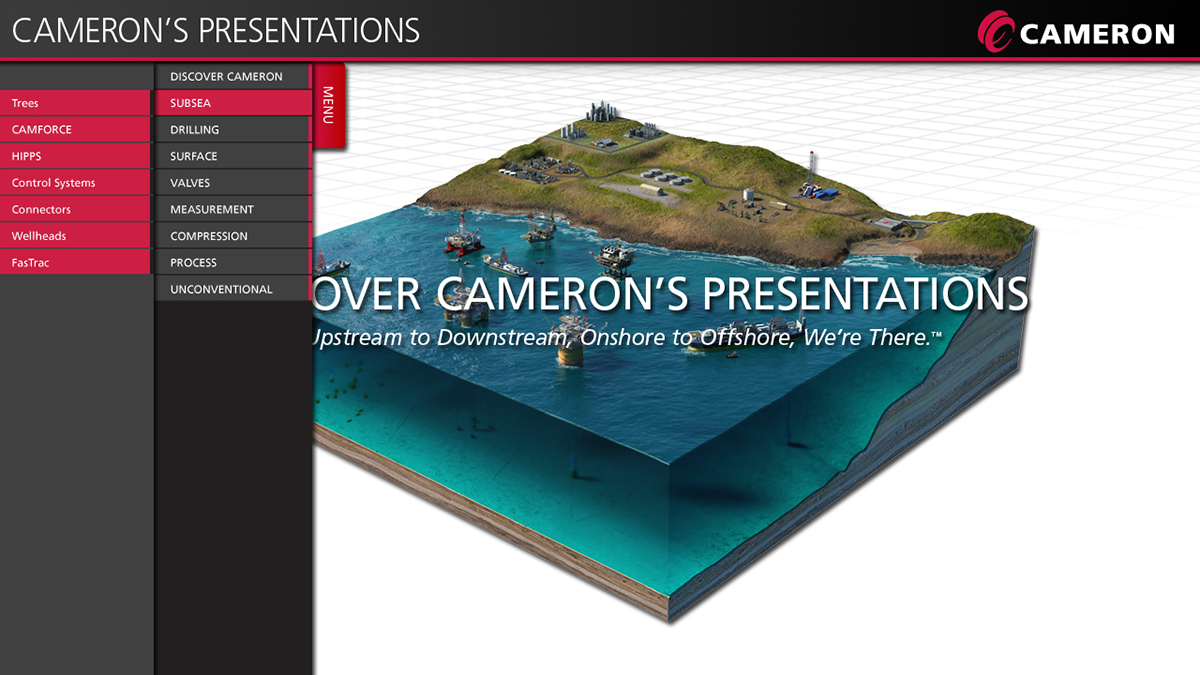 axiom, cameron,trade show kiosk,Responsive,b2b,oilfield