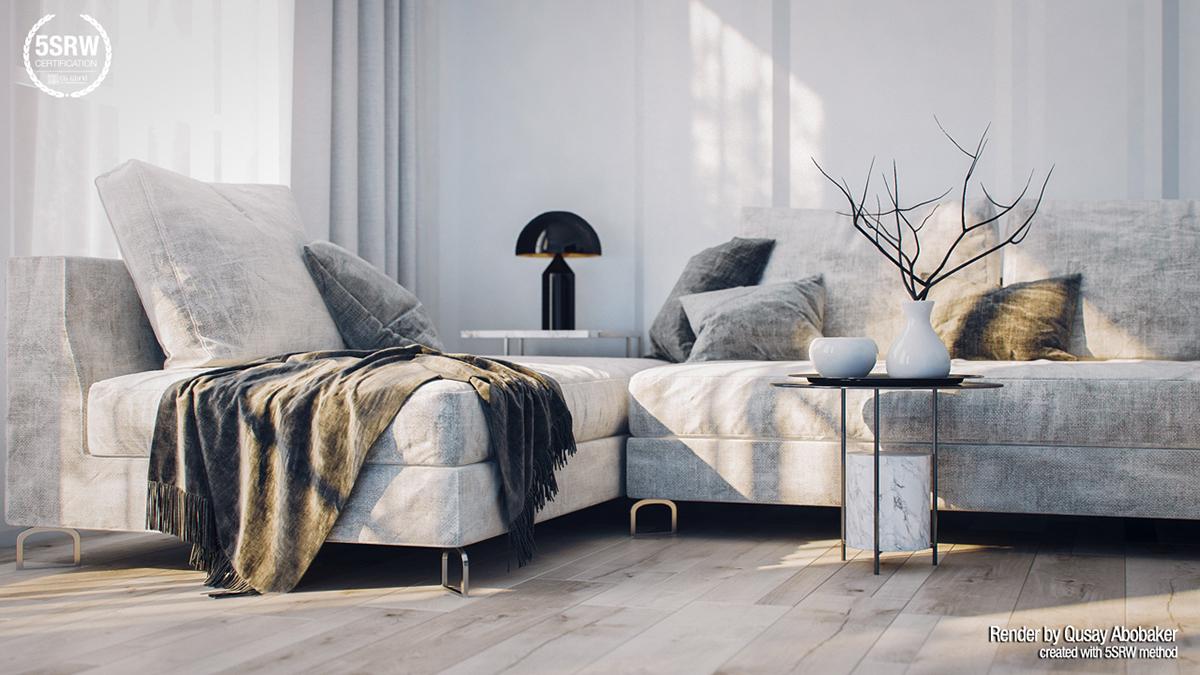 Sunny Living Room Vray Render On Behance