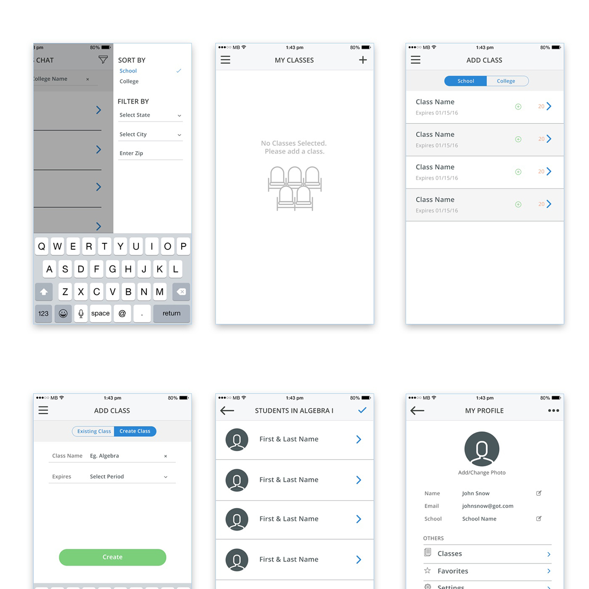 Class chat ios mobile app design on pantone canvas gallery inshare ccuart Image collections
