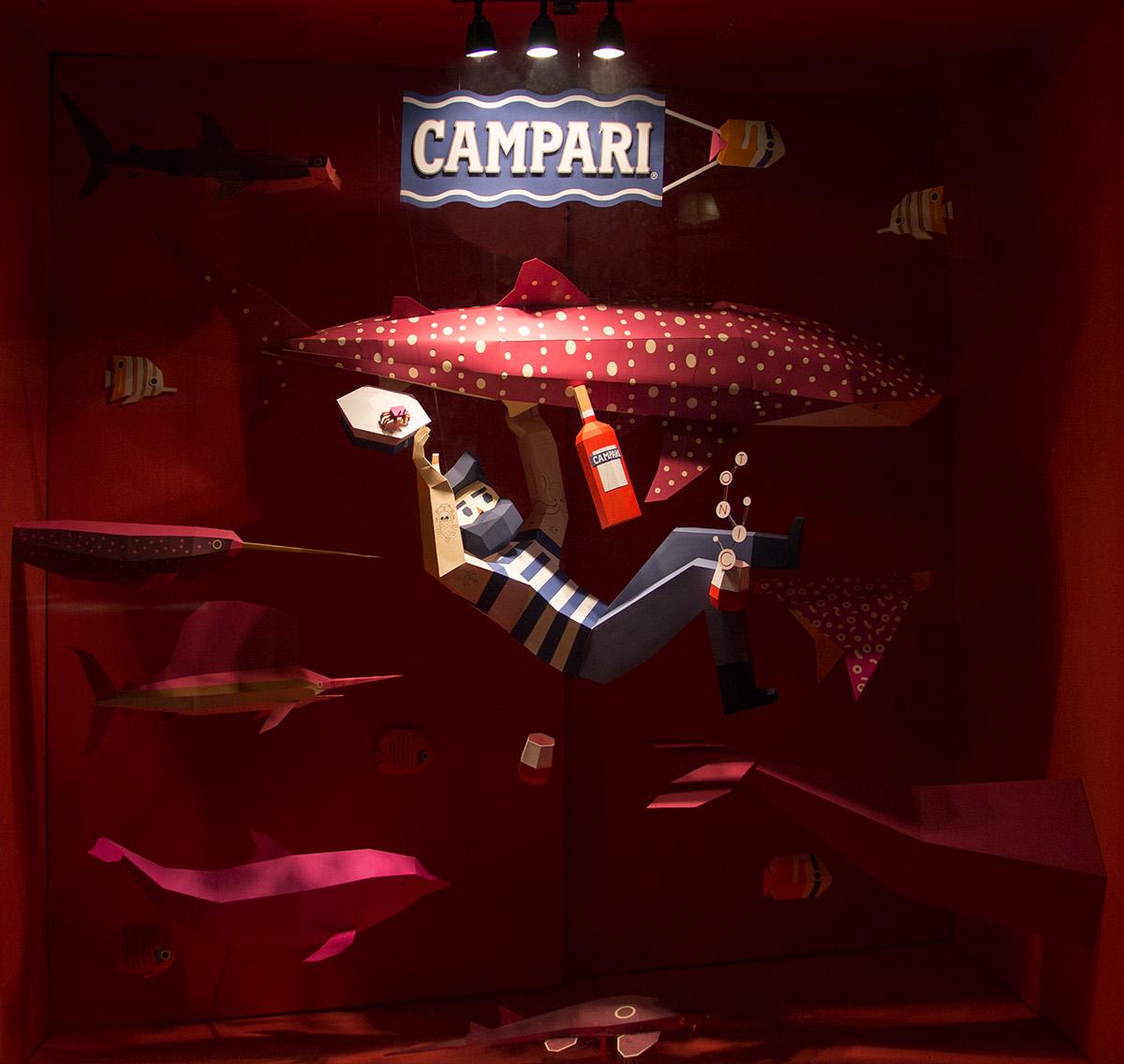 floreria atlantico Campari papercraft lowpoly Window Display shop window shark aquatic Sailfish Whale