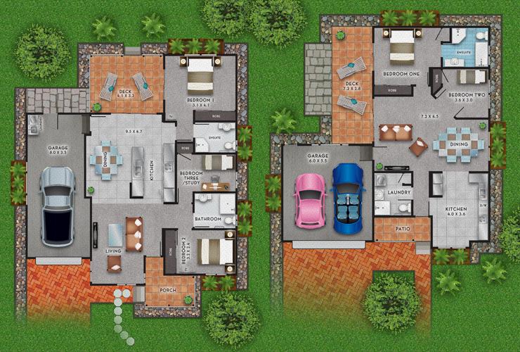 vector illustration of 2d house floorplans on behance