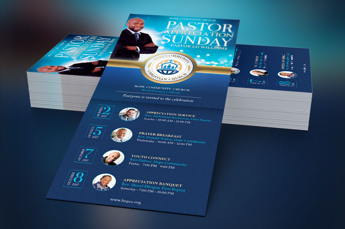 Community Pastor Appreciation Rack Card Template On Behance - Rack card template photoshop