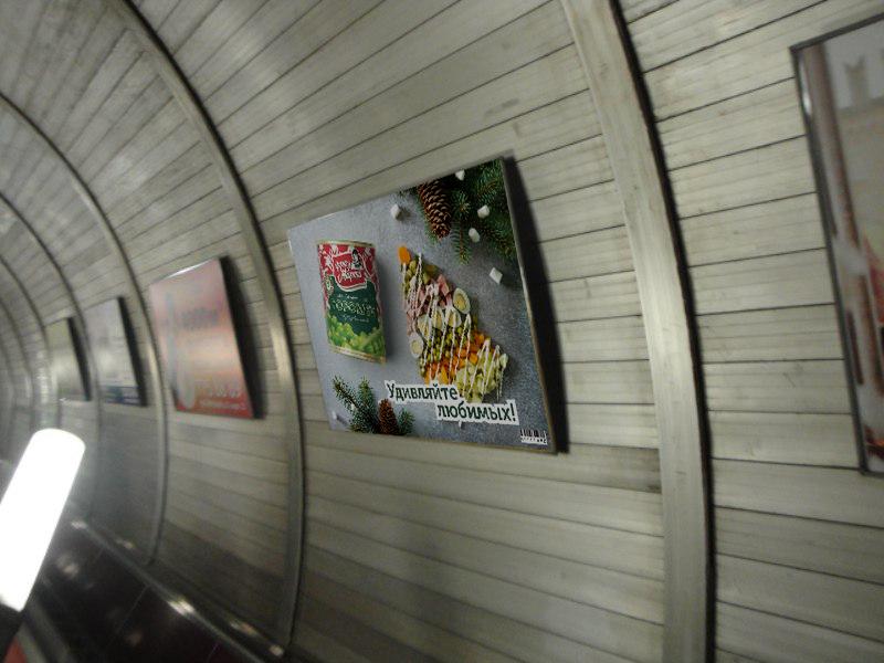 Frau Marta can subway banner Adobe Dimension