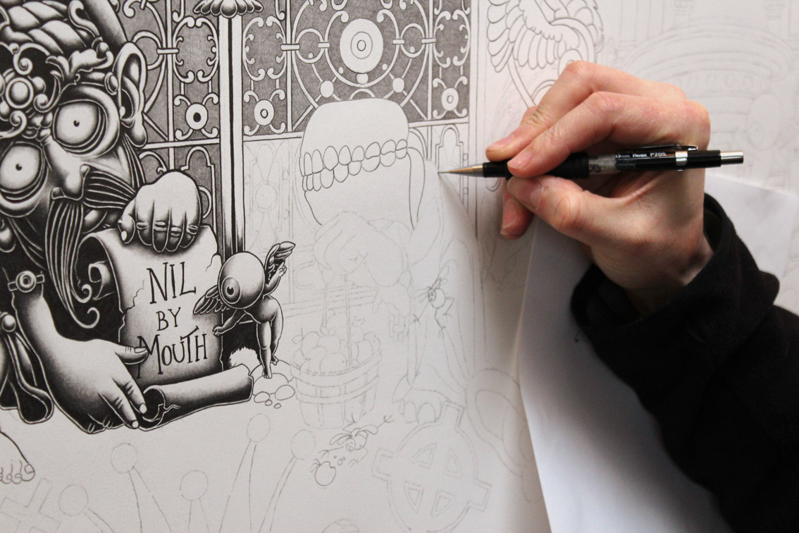 Joe Fenton surrealism black and white low brow pop surrealism dark graphite pencil