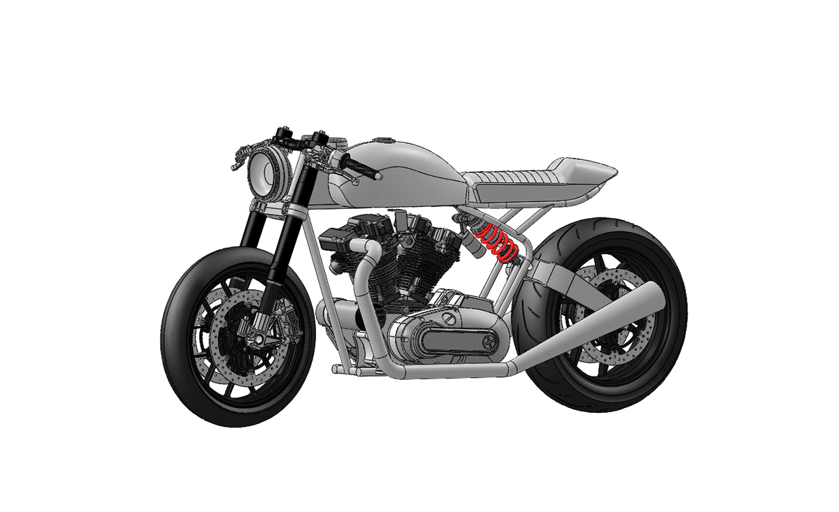 Cafe Racer Scale Model on Behance