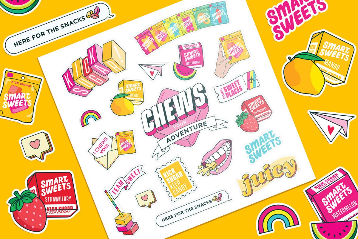 stickersheet of sweet chews candy