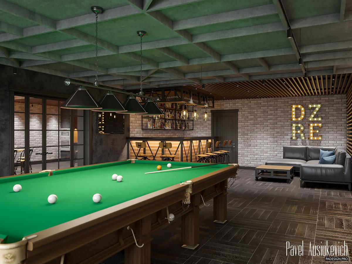 interior design  LOFT billiards corona render