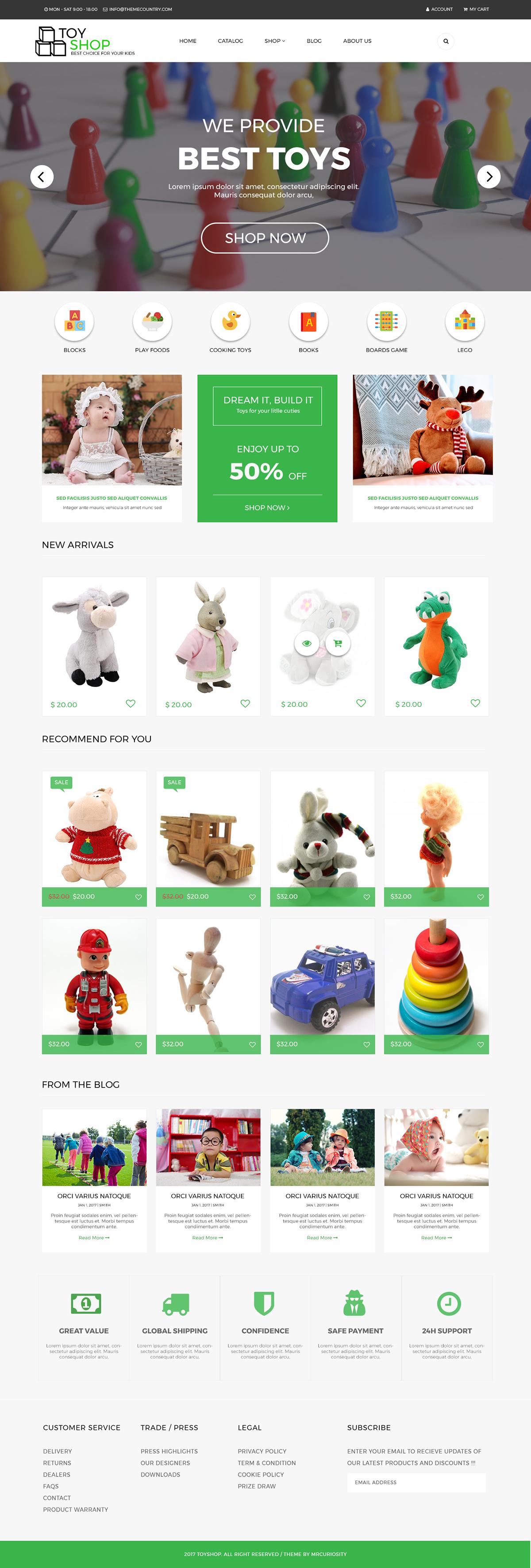 Woocommerce wordpress template toy shop Web Design