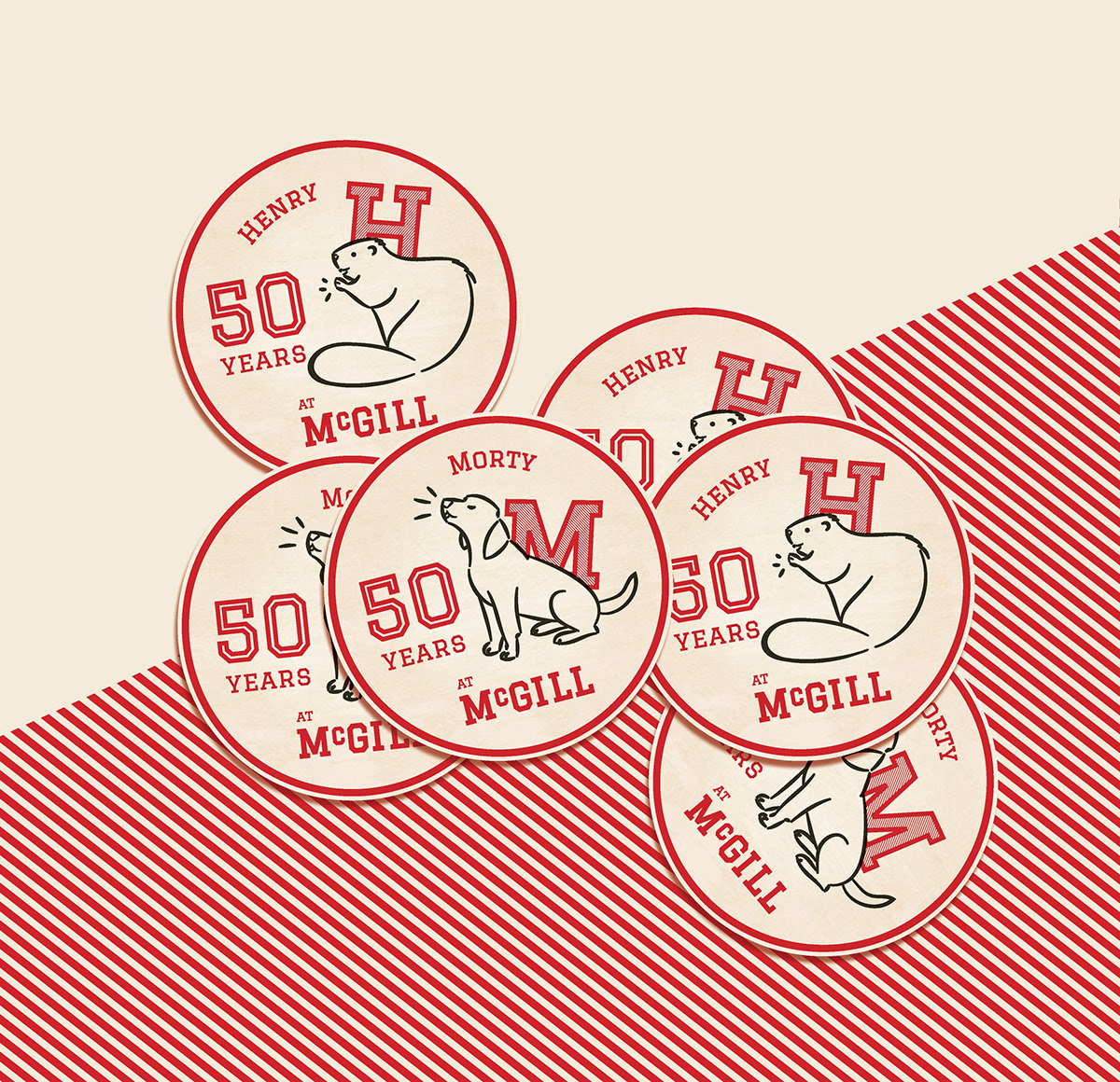 pennant banner stickers Coasters character illustration red White cream dog beaver