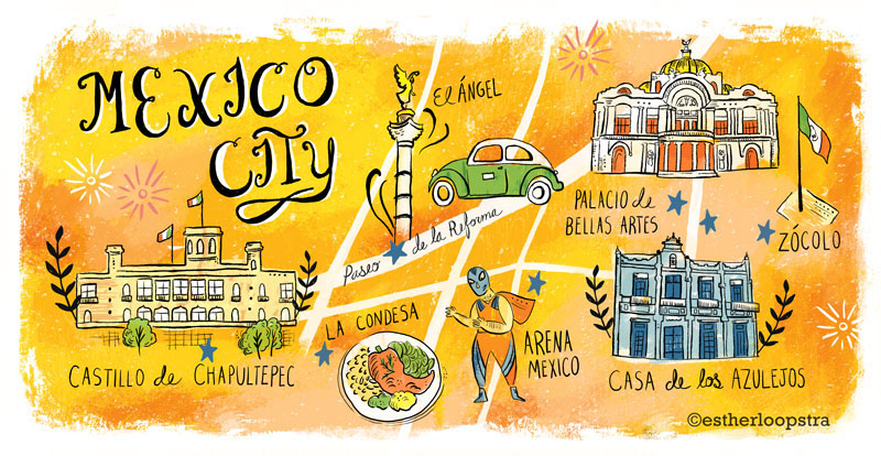 mexico city map for editorial or advertising this map i used more texture and sketchy line and hand lettering featuring some key spots for tourists