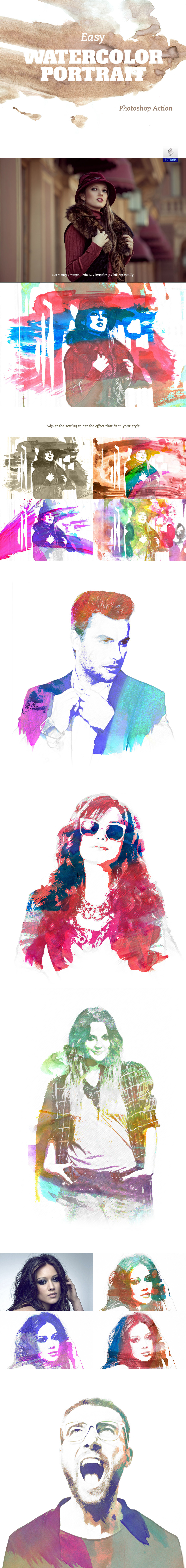 Easy Watercolor Portrait – Free Action on Behance