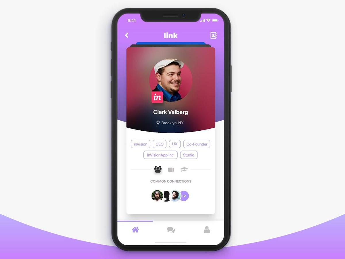 card SWIPE profile inVISION invision studio tinder ios iphonex