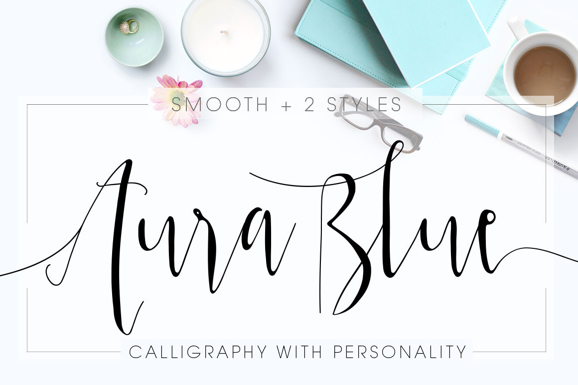 Aura Blue Modern Calligraphy Font On Behance