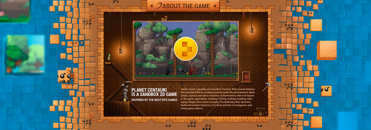 Web-design for the pixel game Planet Centauri on Wacom Gallery