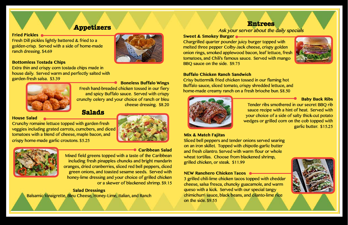 photograph relating to Chilis Menu Printable identified as Chili S Printable Menu Impressive Graphic Gallery
