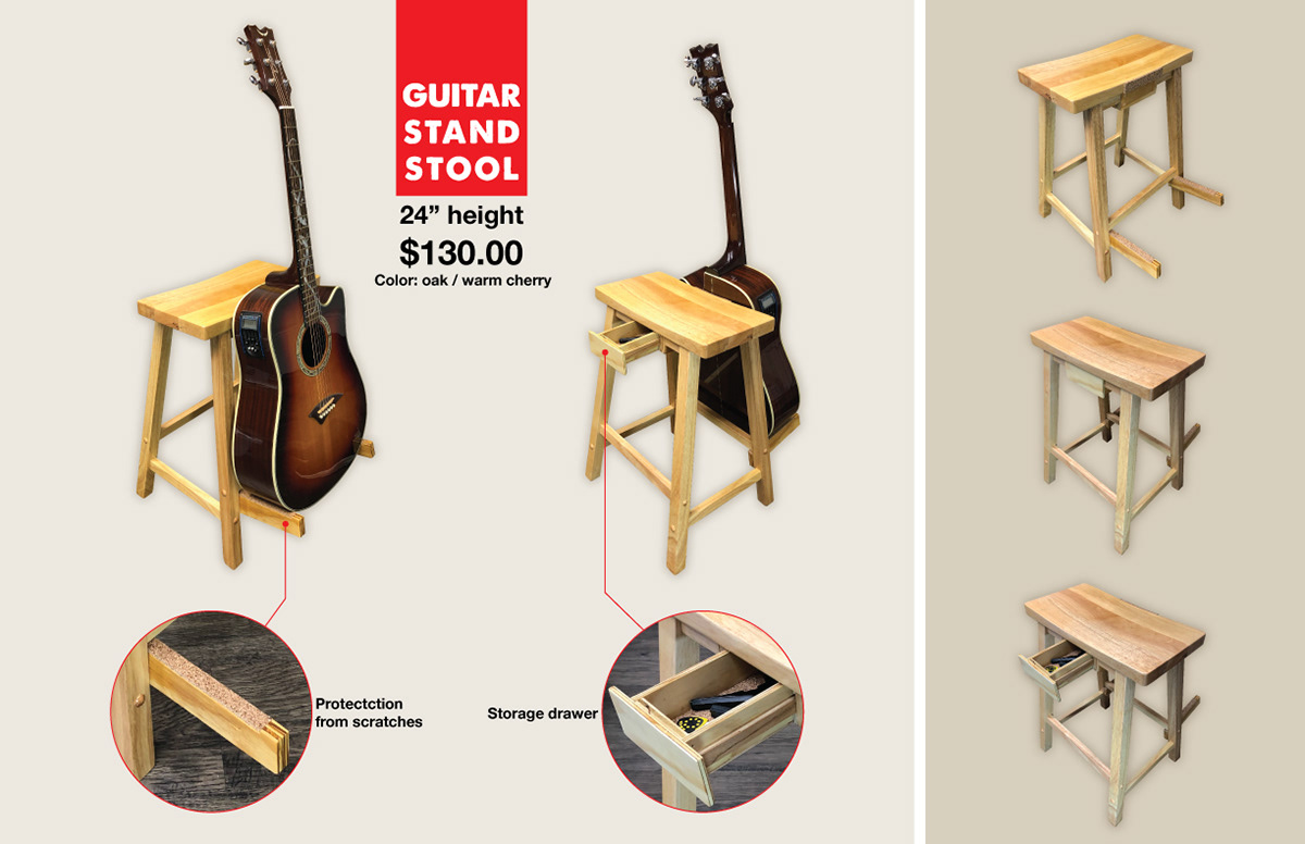 Pleasing Guitar Stand Stool On Behance Ocoug Best Dining Table And Chair Ideas Images Ocougorg