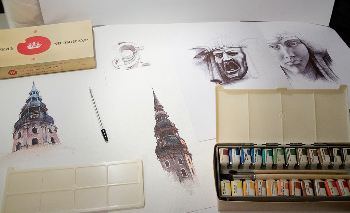 ballpoint pen architecture city sketch watercolors penart Drawing  yelena yefimova