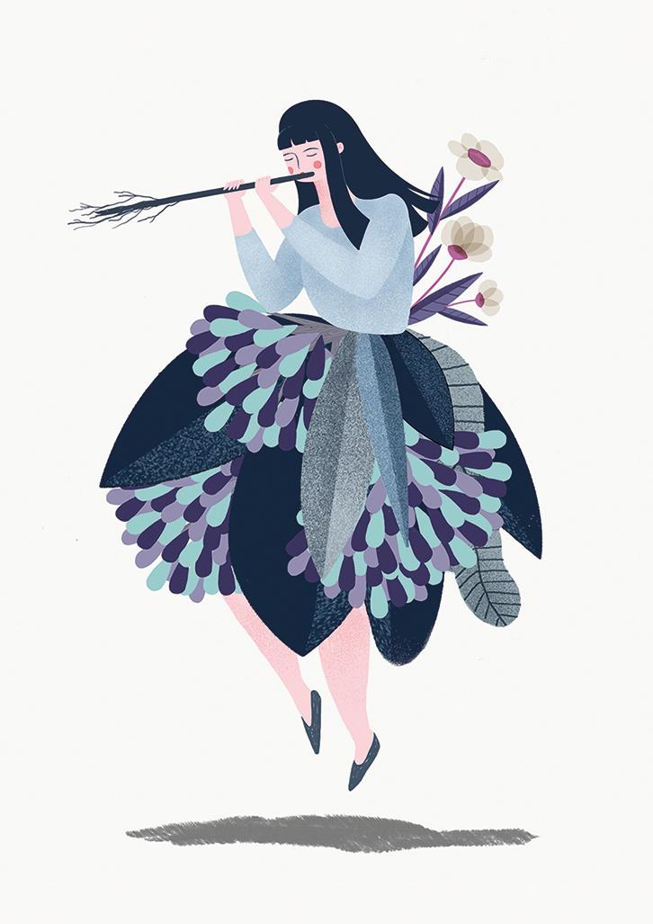 ilustracion photoshop leirebueno Nature plants girl blue pink flute Flowers