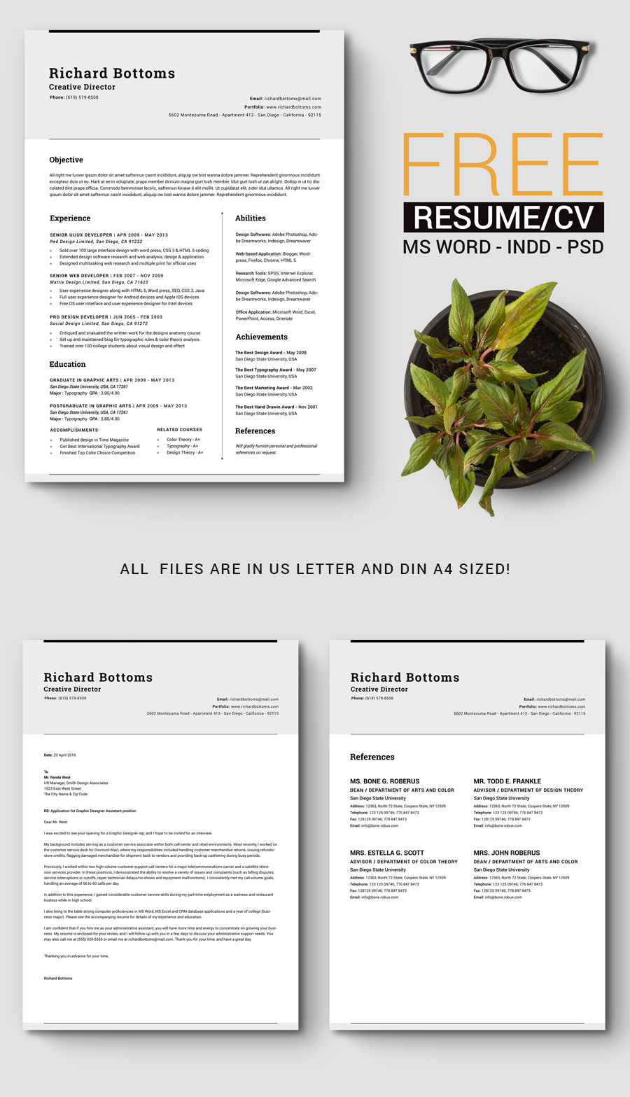 Free Timeless Resume Cv With Us Letter  A On Behance