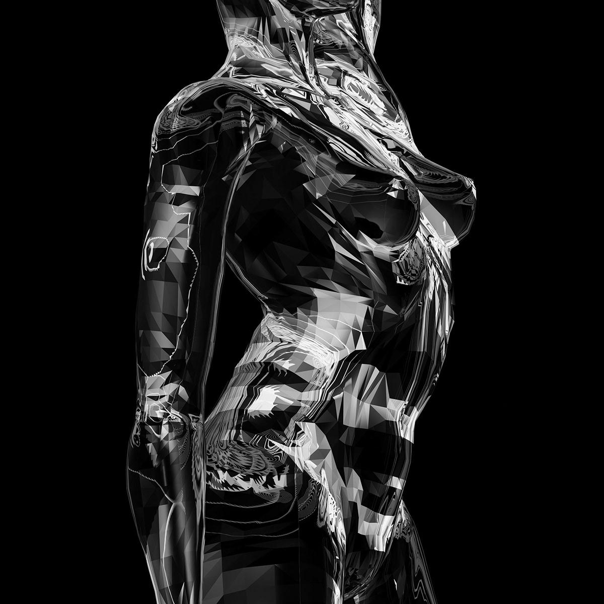 Cyrstalline bodyart figure 3D figure pattern sculpture Digital Art  pose model 3D Modelling