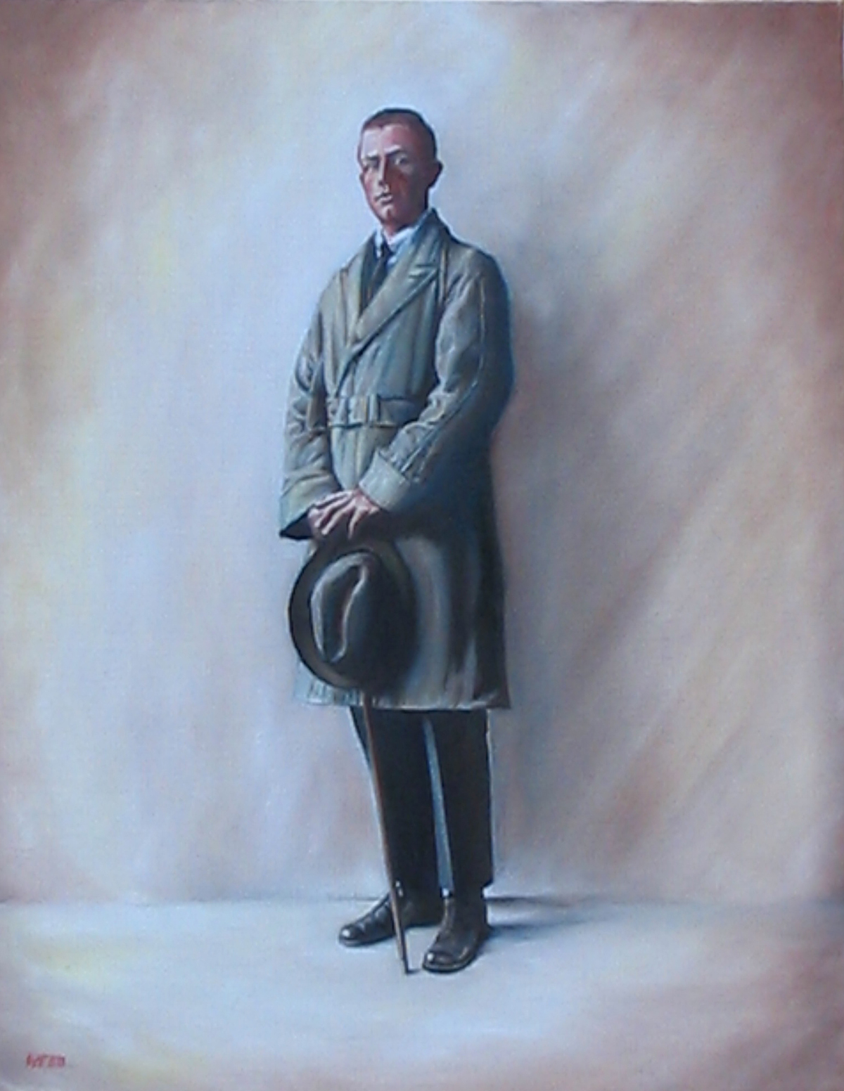 Oil painting of man dressed in a classic trench coat